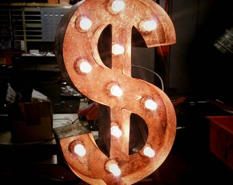 "20"" / 50cm Rusted Steel Dollar Sign Marquee Letter Light - Made In Britain"