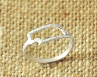 Custom Nebraska ring, State charm, 925 Silver Hammered Rings,Outline State Map Ring, Nebraska Map jewelry, Custom your State Ring