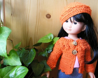 "PDF crochet pattern for 13"" doll clothes - beret and long sleeved cardigan - fits Les Cheries and H4H dolls + one bonus free pattern"