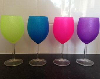 Neon glitter standard wine glass handmade gift