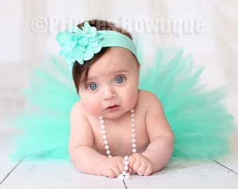 Aqua Green Baby Tutu Set Headband and Tutu Included Fits Newborns Toddlers. Ready to Ship