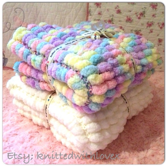 Hand knitted Pom Pom Baby Blanket Made to by KnittedwithLovex