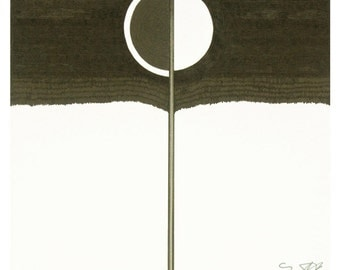 Black White Abstract Minimal Art, Day Night, Moon Sun Minimalist, Lollipop, Abstract Drawing, Contemporary Art, Circles , TIME