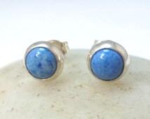 Sterling Silver and Denim Lapis Stud Earrings Blue Lapis Earrings 6mm .. Lapis Earrings .. Handmade Jewelry