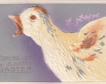 C. 1910 Easter Greetings Air Brushed Embossed Chick Squawking Happy Easter Postcard