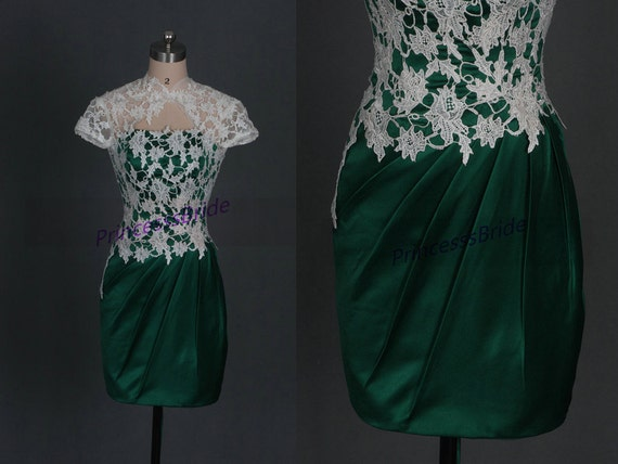 Short forest green satin and ivory lace bridesmaid dress2015 for Forest green wedding dress