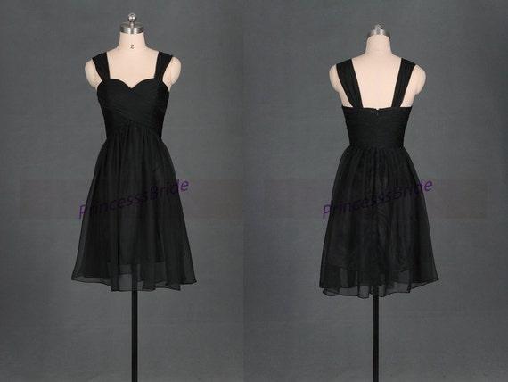 Short Black Chiffon Bridesmaid Dresses In By PrincesssBride