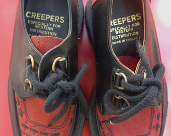 Adorable Vintage Black and Red 80s Creepers Made in England, for kids