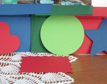 Invitation ticket + envelope of various shapes and colors