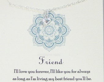 Ill Love You Forever,Necklace,Friend,Friendship,Best Friend,Heart Necklace,Heart,Heart Jewelry,Love,Love yoMinimalist ,Sterling Necklace
