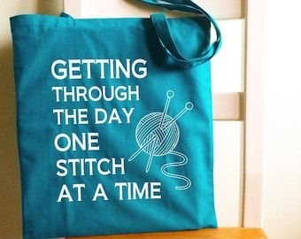 Getting Through the Day Knitters Shopping Bag