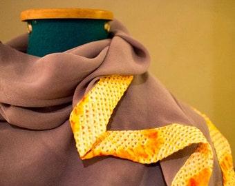 Grey / periwinkle Silk Chiffon hand dyed scarf edeged with yellow/orange/white Japanese Shiburi  silk.