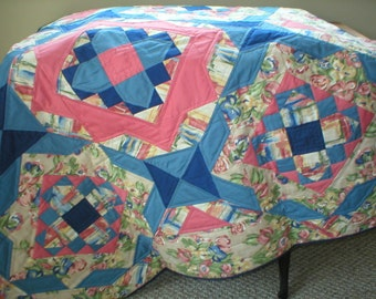 Hand Quilted Lap Quilt, Wall Hanging or Throw