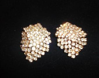 Vintage Gold Clipon Rhinestone Earrings