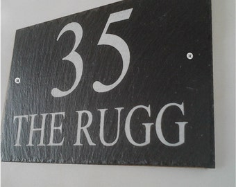Beautiful Natural Slate House Signs 17cm x 13cm Personalised for you with any details - Made by Master Craftsmen WORLDWIDE DELIVERY