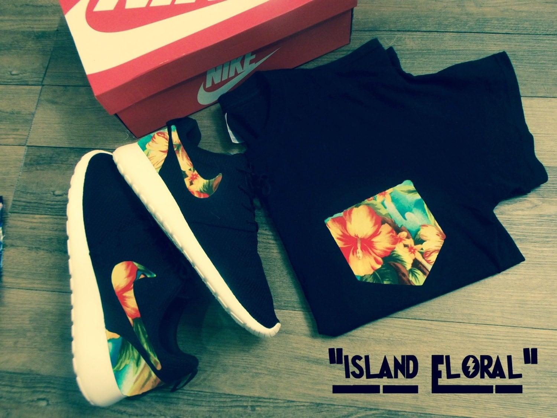Nike Men's Island Roshe Run Exclusive Floral And Custom Unique 8q6zgnZWzx