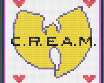 Wu Tang Clan Hip Hop Counted Cross Stitch PDF Pattern - INSTANT DOWNLOAD