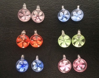 6 Pairs of Small Floral Lampwork Glass Puffy Coin Pendants