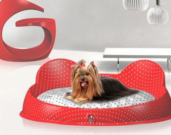 Designer dog bed for YorkshireTerrier and small dog,with silk-screened methacrylate.Removable and washable cushion,two colors fabric.