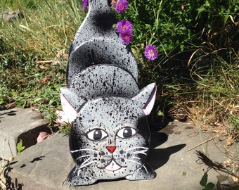 Hand painted one of a kind tabby cat wooden mail/napkin/magazine holder