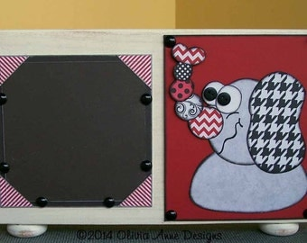 Alabama Elephant, Edwina the Elephant, a Whimsical, Embellished Picture Frame (5 x 5)