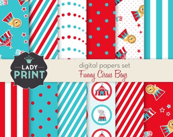 Funny Circus Boy Printable Digital Papers. Digital papers set - For Personal and Small Commercial Use.
