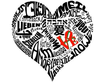 Love in 30 Different Languages Typography Art on Canvas 30x40