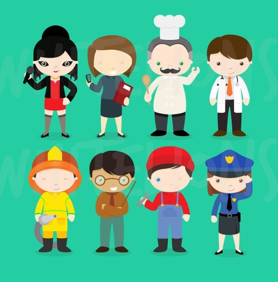 Cartoon Characters Jobs : Occupation characters clipartjob type clipart by
