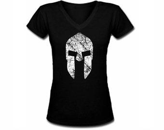 Spartan helmet distreesded print black v neck customized women t shirt -fit the body