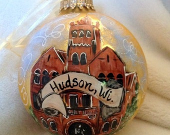 Hand Painted Ornaments by Les ~ Hudson,Wi Courthouse ~ Original Ornament