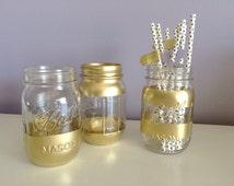 Gold Mason Jars - Bar Cart Accessories - Wedding Mason Jar Centerpieces - Gold Painted Mason Jar - Gold Vase - Straw Holder