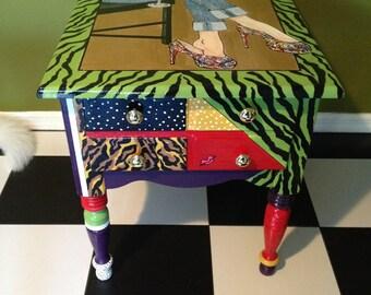 Vintage Furniture, Hand Painted Table, Designer Shoe Theme