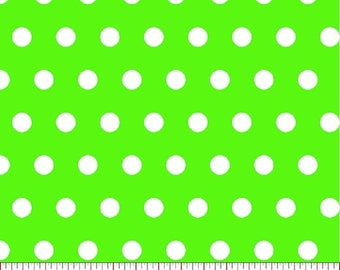 Lime Green Dot Fabric, Fabric by the Yard, sewing fabric, Quilt Fabric