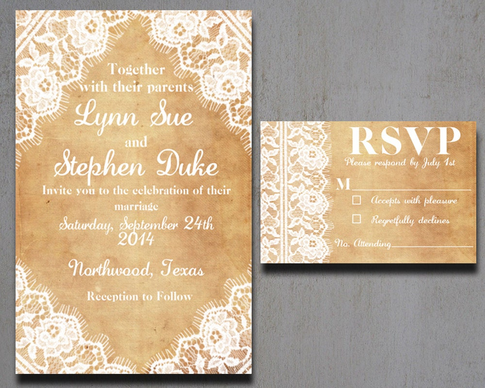 Lace Wedding Invitation: Burlap And Lace Wedding Invitations Vintage By