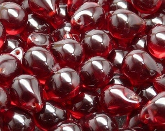 10pcs Czech Pressed Glass Teardrop Beads 10x14mm Ruby