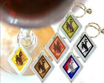 "Wine Glass Charms ""Wyoming Bucking Horse & Rider(TM)""  from rescued, repurposed window glass~When you don't want to share, mark your glass!"