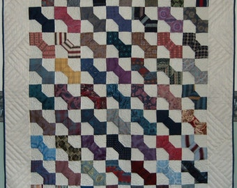 SILK TIES Patchwork Quilt, Bow Tie Quilt, Recycled quilt, Published Quilt