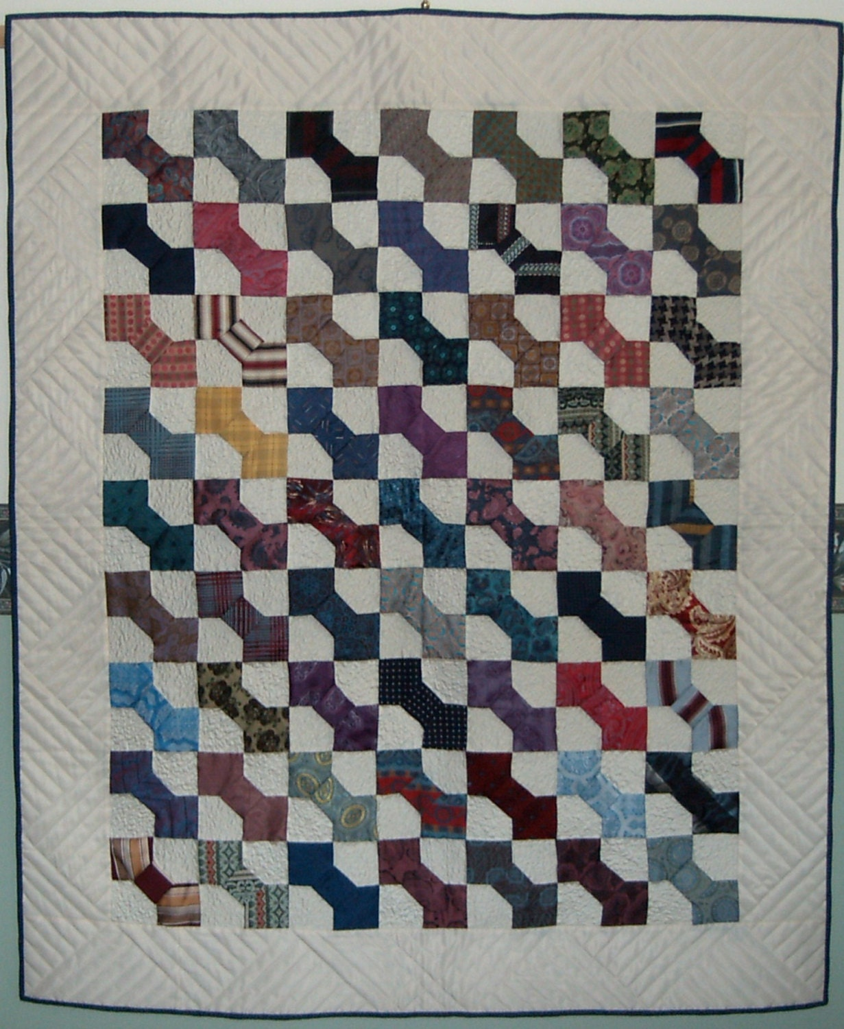 SILK TIES Patchwork Quilt Bow Tie Quilt Recycled quilt
