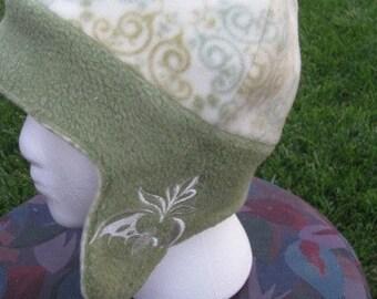 Damask Bat Fleece Ear Flap Hat