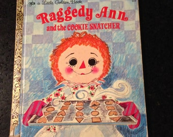 Vintage 1970s Little Golden Book, Raggedy Ann Book, Mid Century Book,  First Edition, Raggedy Ann and the Cookie Snatcher, Nursery Decor
