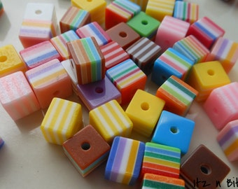 50 pc. Cube,mixed color, striped resin beads, 8mm, (IBC-1013-50)