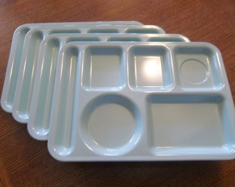 Set of 2 mint green Melmac cafeteria trays