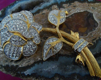 SALE Nolan Miller Brooch Crystals Flower Rose Vintage