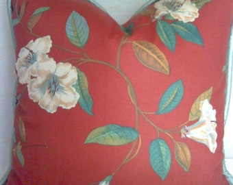 red botanical print pillow with contrast welt