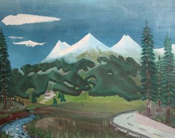 Mountain Landscape Forest River Vintage Oil Painting