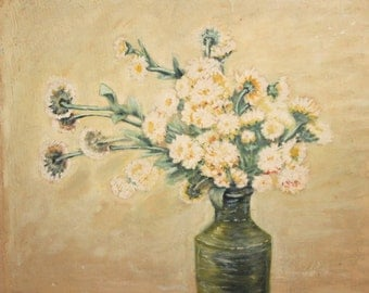 Antique impressionist oil painting still life flowers