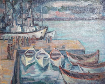 1987 Impressionist oil painting seascape sailboats harbour signed