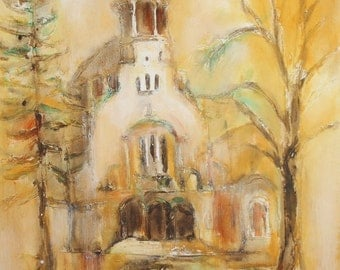 Impressionist oil painting church signed