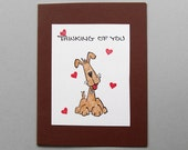 Thinking of you card with cartoon dog