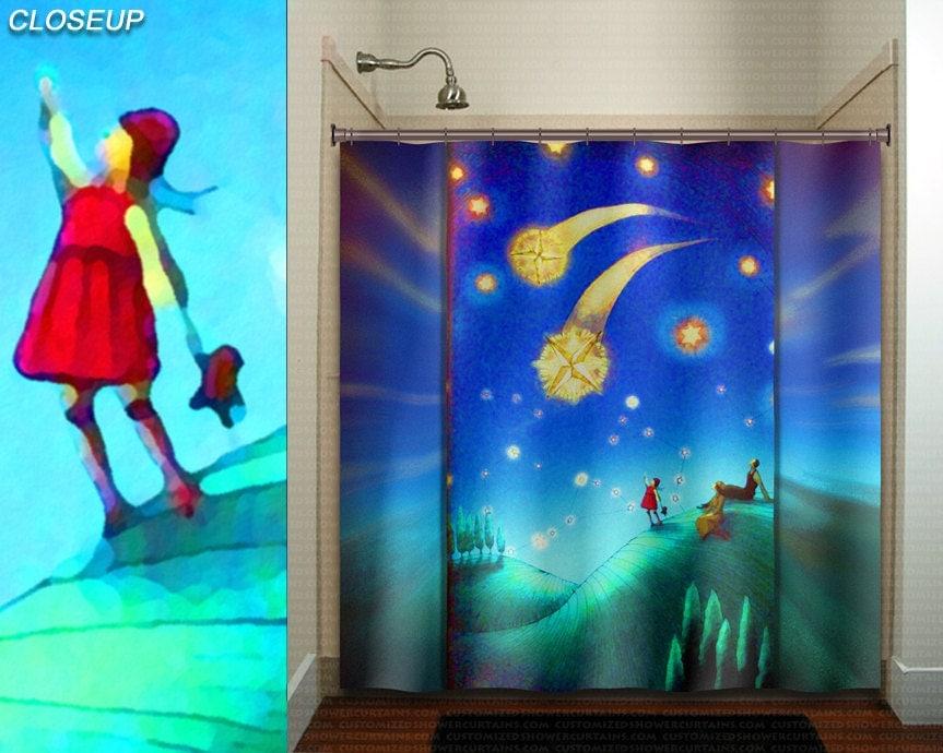 Whimsical Shooting Star Gazing Family Girl Shower Curtain Kids